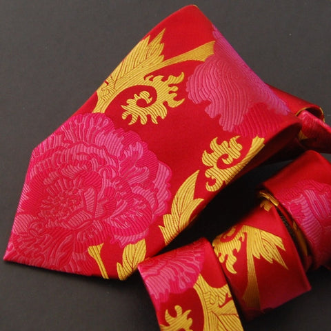Peony - Red, Pink & Gold Silk Tie
