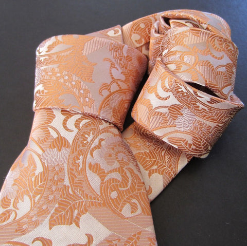 Floral White and Salmon Silk Tie