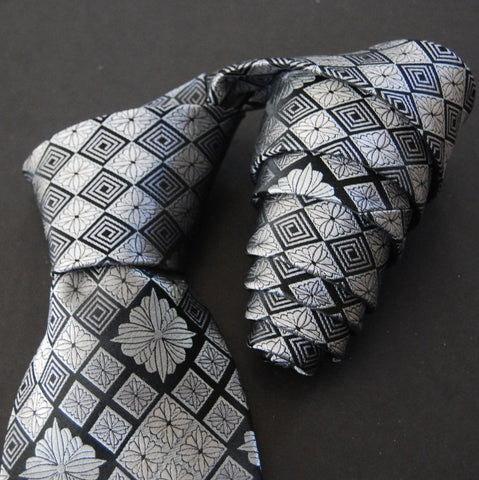 Chrysanthemum Diamond-Silver & Black  Silk Tie