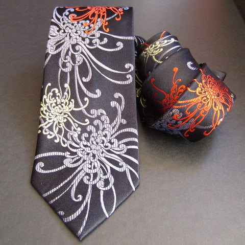 Spider Chrysanthemum - Red, Grey & Black Silk Tie