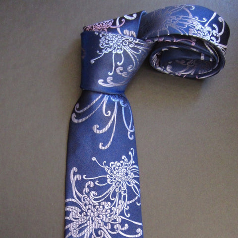 Spider Chrysanthemum - Purple & Blue Silk Tie