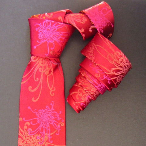 Spider Chrysanthemum - Pink, Gold & Red Silk Tie