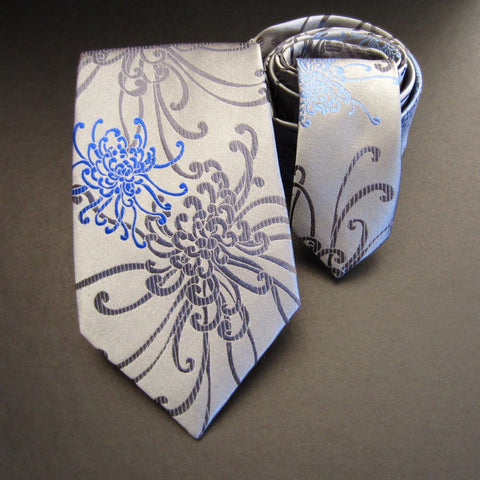 Spider Chrysanthemum Blue, Grey & Silver Silk Tie