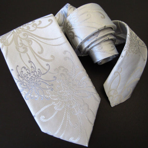 Spider Chrysanthemum - White Silk Tie