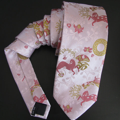 Dark pink on pink Horse Design silk tie