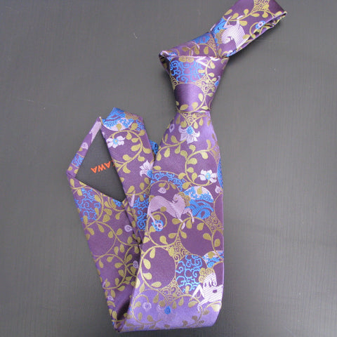 Lilac & turquoise on purple Horse Design silk tie
