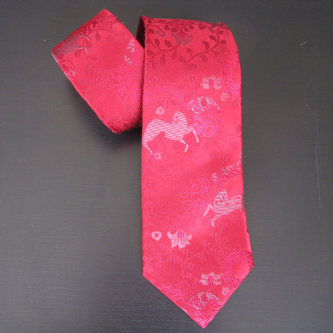 Red on red Horse Design silk tie