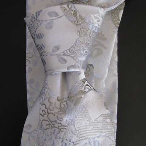 Silver on white Horse Design silk tie