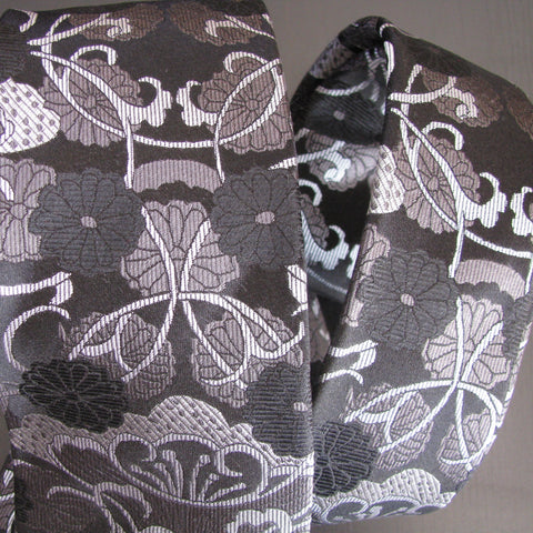 Greys on black Vase Design silk tie