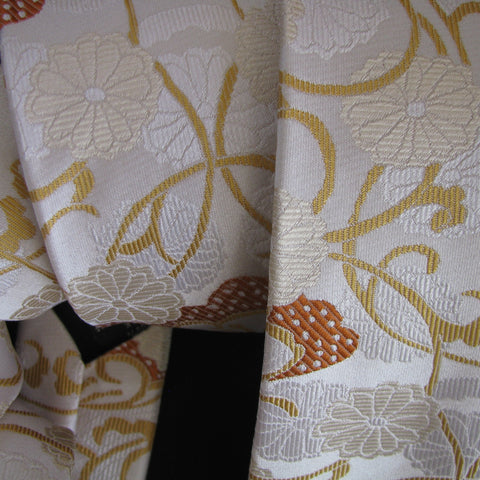 Gold & orange on cream Vase Design silk tie
