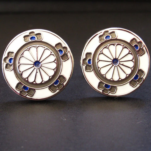 Blue Double Flower Cuff Link