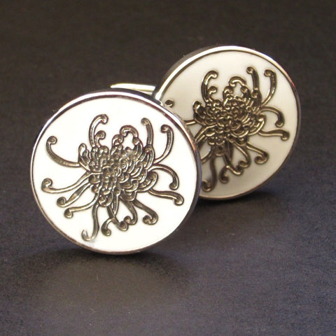 White Spider Chrysanthemum Cuff Link