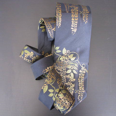 Gold & green on black Wisteria Design  silk tie