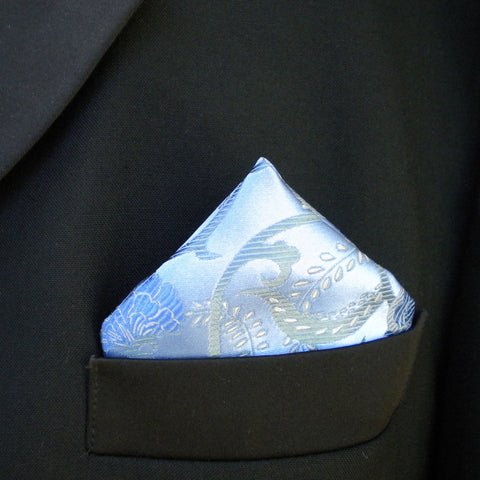 Blue on blue flower pocket square