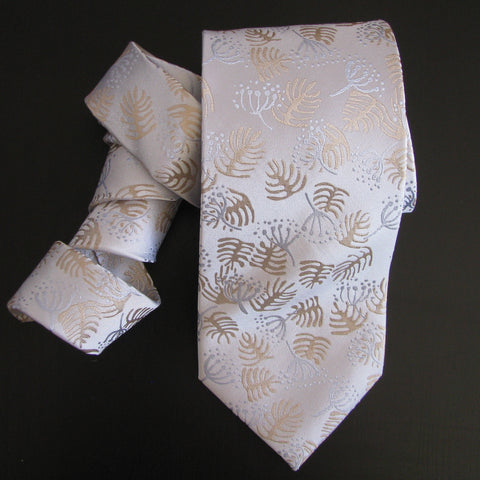 Pastel shades on white Foliage design silk tie