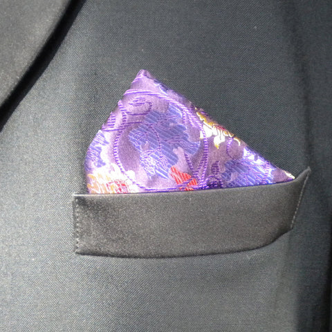 Purple Swirl Pocket Square