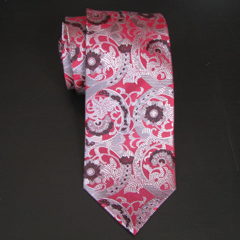 Silver & greys on red Floral design silk tie