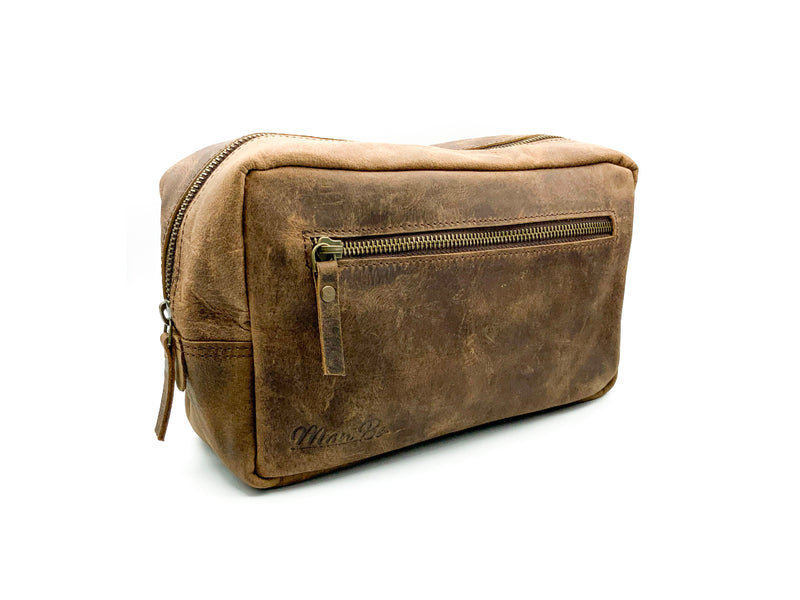 Man Be Buffalo Leather Wash Bag