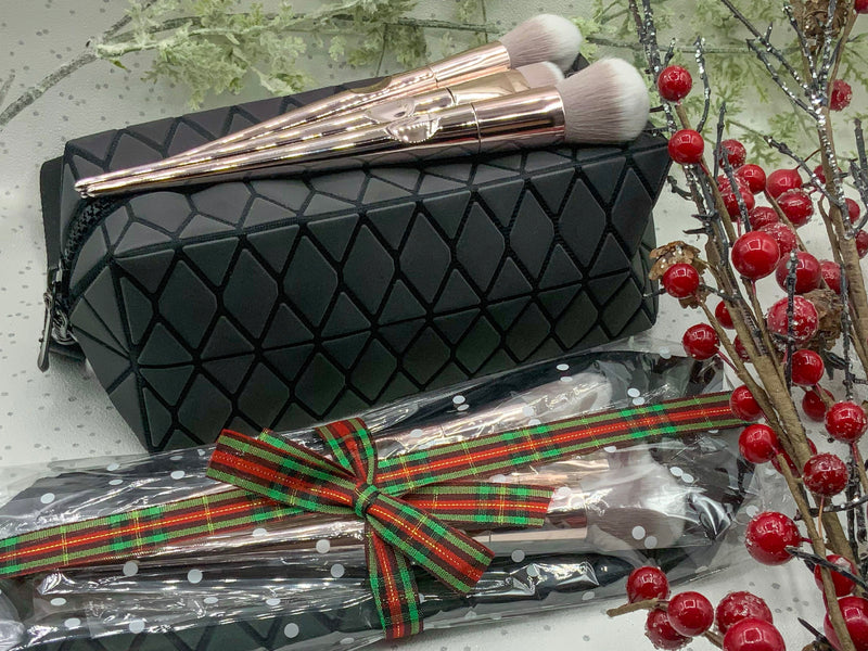 Geo Makeup Bag and Brushes Gift Set