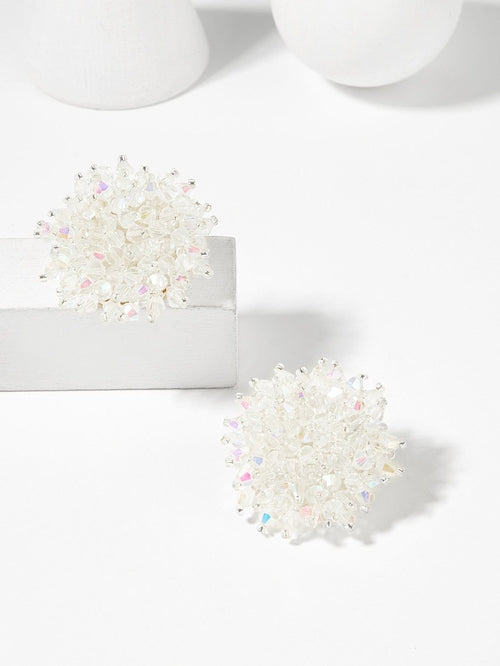 Crystal Flower Shaped Stud Earrings - LaV's Boutique