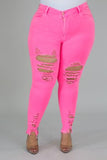 In Distress Neon Jeans
