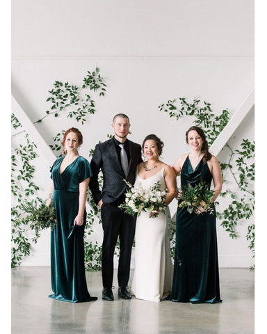 Dark Green Velvet Bridesmaid Dresses Long 2020