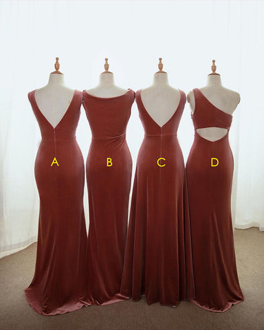 One Shoulder English Rose Velvet Bridesmaid Dress Long 2020