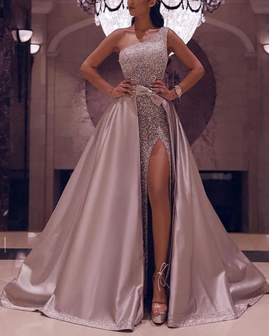 Fabulous One Shoulder Sequin Dresses 2020 With Detachable Skirt
