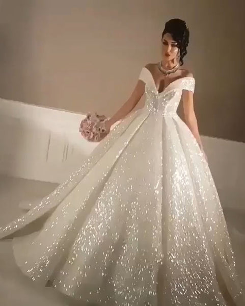 Princess Style Bling Bling Wedding Dresses Ball Gown 2020