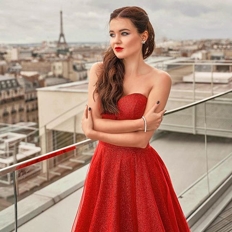 Image of phylliscouture red glitter prom dress