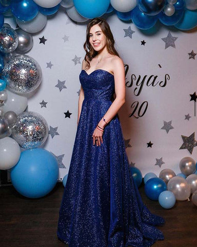 Image of phylliscouture blue glitter prom dress
