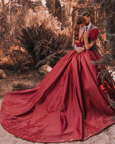 Image of phylliscouture wedding dress burgundy