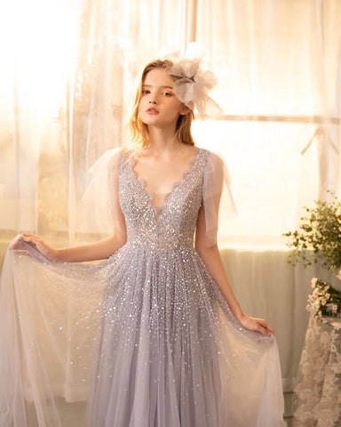Short Sleeves V Neck Sparkling Prom Dress 2021