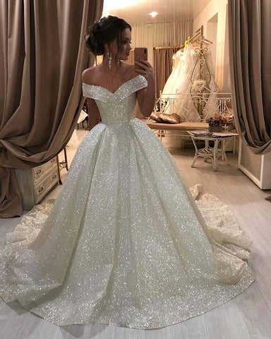 Image of Off Shoulder Ball Gown Glitter Wedding Dress 2021