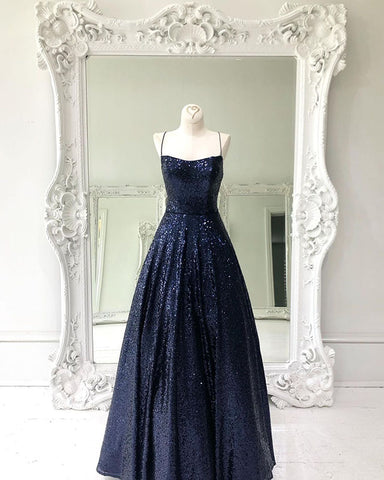 Image of phylliscouture navy blue sequin prom dress