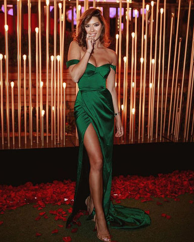Image of Off Shoulder High Slit Sexy Prom Dress