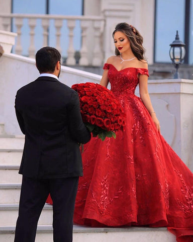 Image of phylliscouture red wedding dress