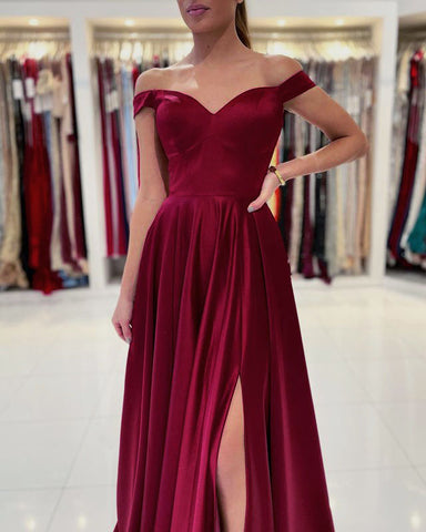 Image of phylliscouture burgundy prom dress satin