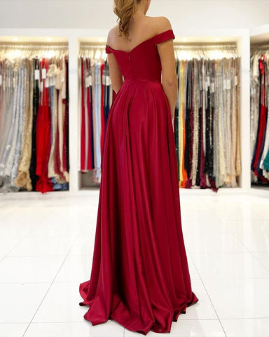 Hunter Off Shoulder Prom Dress 2021 with Sexy Leg Slit