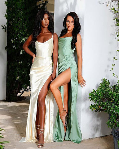 Image of Spaghetti Straps Sexy Sage Prom Dress 2021