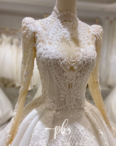 Image of Vintage Long Sleeves Lace Mermaid Wedding Dress 2021