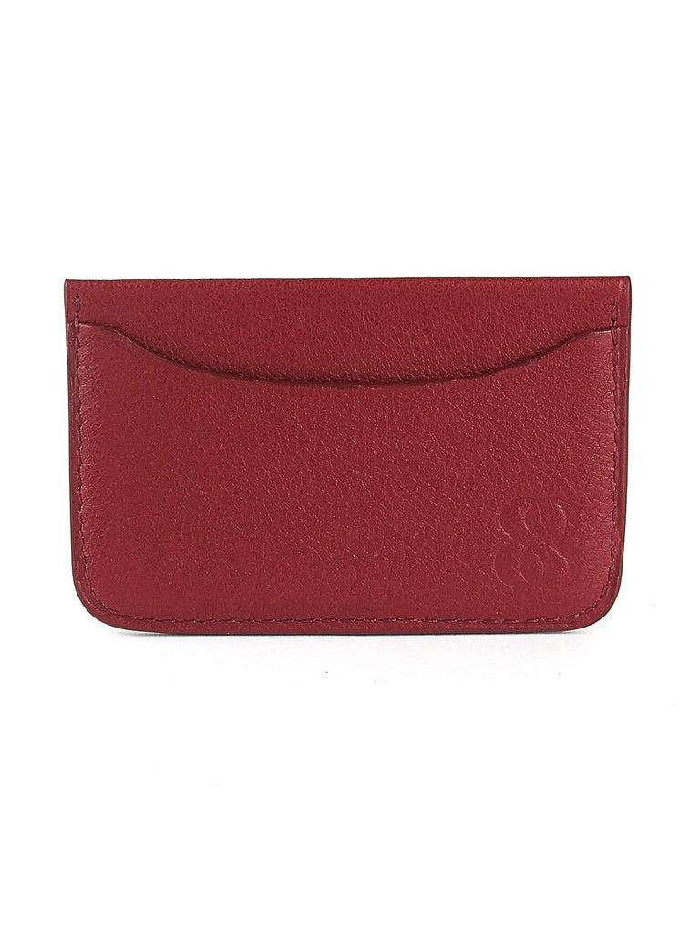 porte-cartes en cuir graine rouge