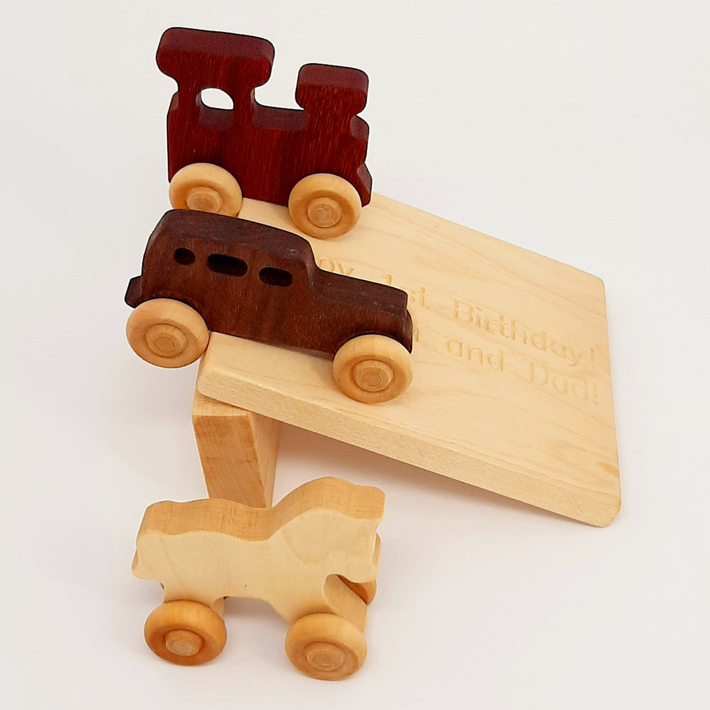 Wooden Toy(3 pieces) and engraving ramp