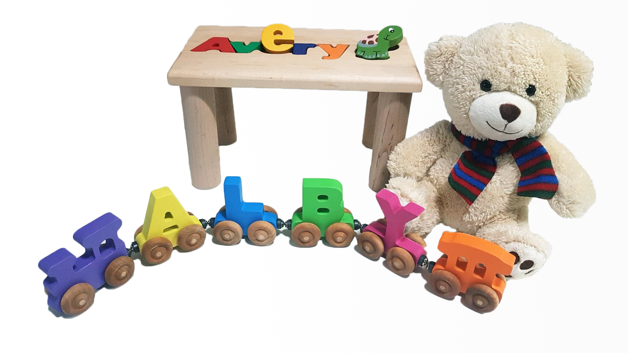 The Train  Engine Wooden Child Toy 3 pairs of wheels US
