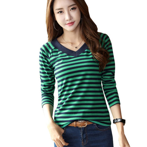 Casual V-Neck Striped Long Sleeve Women's T-Shirts