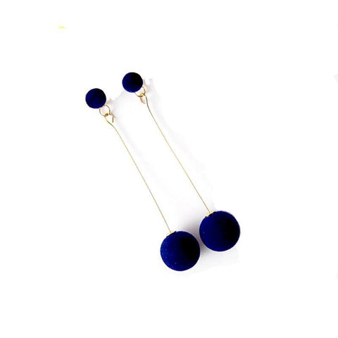 Long Cotton Plush Round Ball DropEarrings