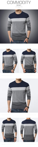 Casual Striped Round Neck Slim Fit Sweater
