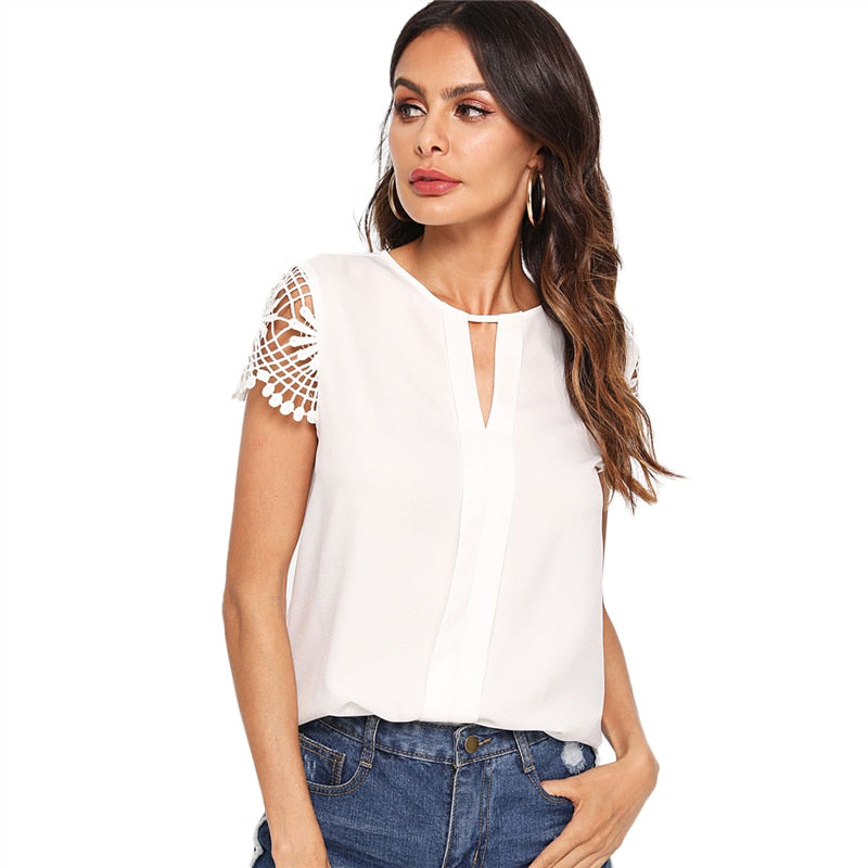 White Cap Sleeve Casual Round Neck Cut Out Elegant Blouse Top