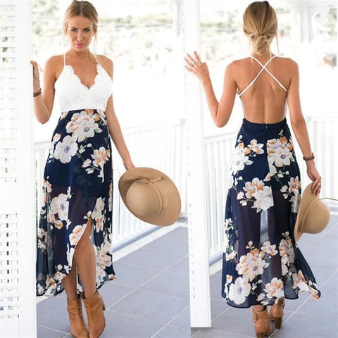 Flower Print Long Lace Sleeveless Patchwork Dress for Women