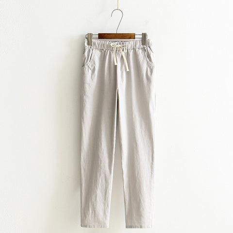 Cotton Linen Solid Elastic  Waist Soft  Harem  Pants